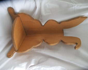 Vintage wood bunny corner shelf / Children's corner rabbit book shelf