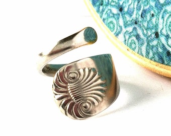 Wrapped Spoon Ring, Size 7, Shell, Eco Friendly Upcycled Ring