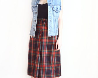 plaid high waisted pleat wool skirt
