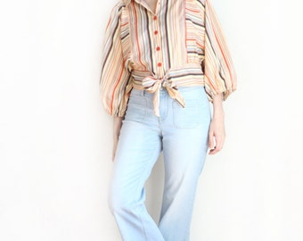 striped poet sleeve blouse
