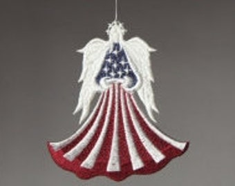 1 (one) Flag Lace Angels, Patriotic Lace Angel, 4th of July Machine Embroidered Lace Angel