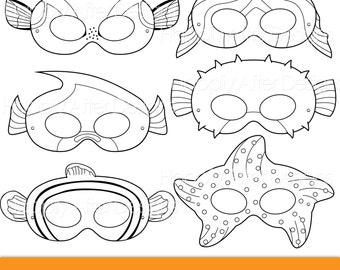 Fish Printable Coloring Masks Clownfish Mask Blue Tang Starfish Pufferfish