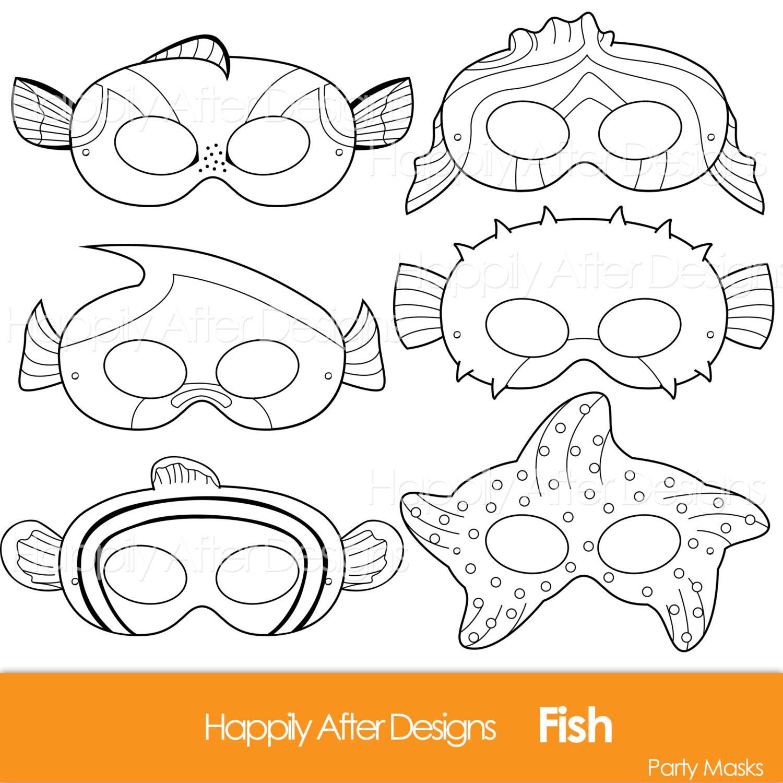 Fish Printable Coloring Masks clownfish