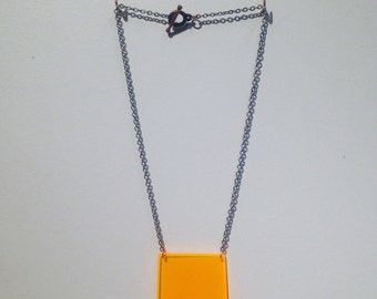 Tangerine Square Orange Plexiglass Necklace