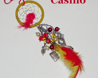 SALE Casino Themed Dream Catcher Car Charm Dazzler - Red and Yellow - Slot Machine, Cards, Dice, 100 Dollar Bill, Money Bag and Wish