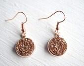 Rose Gold Faux Druzy Dangle Earrings
