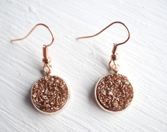 Rose Gold Faux Druzy Dangle Earrings