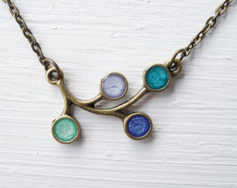 Branch Multicolored Resin Necklace