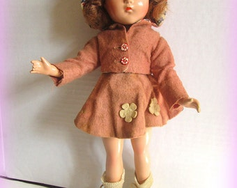 """14"""" 1940's Composition Doll Ice Skater All Original Arranbee Debuteen Mold Good Quality Unmarked Sonja Henie"""