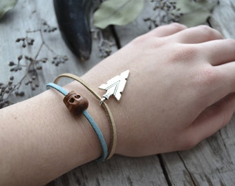 stacking bracelet // wooden skull bracelet // leather magnetic bracelet // friendship bracelet