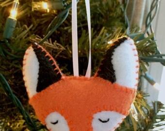 Fox Face Felt Plushie Ornament