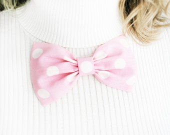 Baby pink bow. oversized polka dots bow brooch. Girls bows brooch. pastel pink hair clip. Ready to ship. back to school. musfrooms