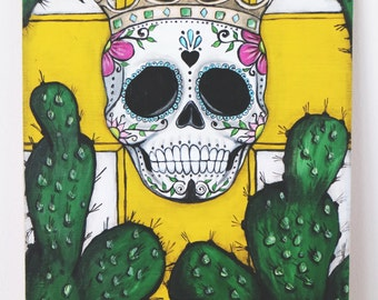 Sugar skull. Original painting, acrylic paint, mexican skull, sckull illustration, boho style, wedding gift, mexican art