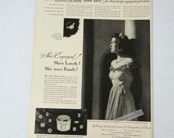 Vintage 1947 Ponds COld Cream Advertisement WWII Era Black and White Ad Clara Jones Engagement