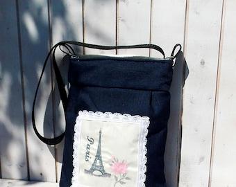 Paris, Eiffel tower shabby womens crossbody bag