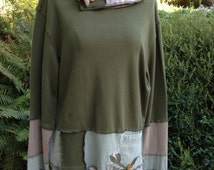 Cotton Tunic Top, Upcycled Clothing, Cowl Neck, Sage Green, Medium to Large, #T110