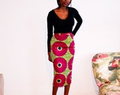 Fully lined African print midi pencil skirt (purple+green)