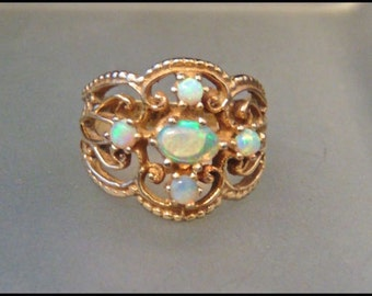 Vintage Opal 14K Wide Band Ring/ Filigree Design/Yellow Gold