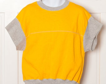 Sweet Vintage 80s Short Sleeve Sweatshirt - bright yellow gray - Pannill - L