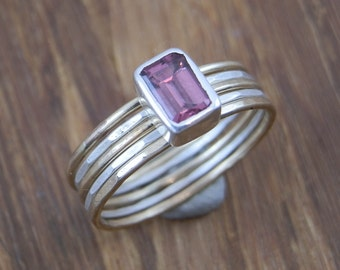 Rhodolite Garnet Stacking Ring Set, Emerald Cut Garnet Ring Set in Argentium & Gold, Hand Made Barely There