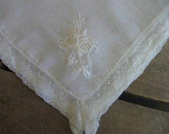 Sheer White Embroidered Hankie, Something Old Wedding Hankie, Ladies Handkerchief, Square Hankie, White Lace Hankie, Square MyVintageTable