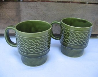 Vintage Green Stacking Coffee Cups, TWO Stackable Coffee Mugs, Retro Avocado Green Kitchen