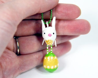 Bunny on an Easter Egg Mini Ornament OR Necklace