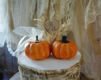 Fall wedding cake topper mini pumpkin topper bride groom country wedding rustic barn pumpkin fall decorations themed Mr and Mrs autumn bride