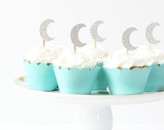 Silver Glitter Moon Cupcake Toppers Twinkle Twinkle Little Star Party Supplies Boys First Birthday Cake Topper Girls 1st Birthday Crescent