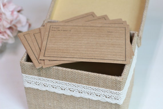 Wedding Gift Recipe Cards : ... Burlap and Lace, Includes Recipe Cards, Wedding Gift, Shower Gift