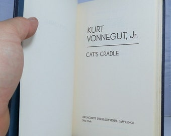 Kurt Vonnegut Jr. Vintage Hardcover Book Cat's Cradle 1963 Delacorte Press Blue Cloth Covers No Dustjacket Clean Copy