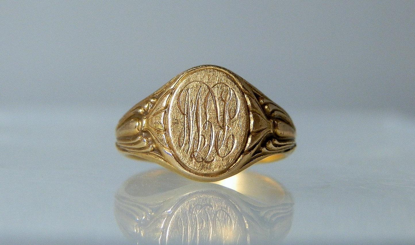 vintage 14k yellow gold baby ring band monogrammed infant ring