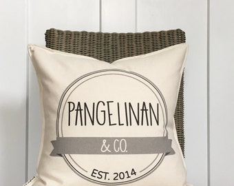 """18"""" And Co. Family Pillow - Established Year Pillow - Family Last Name - Cotton Anniversary Gift - 2nd Anniversary - Wedding Year Pillow"""
