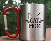 Stainless Steel Camp Mug, Mom gift, Cat mom mug, Red Carabiner Handle, Unique gifts for Her, Cat parent, Kitty Cat whiskers, hiking gift