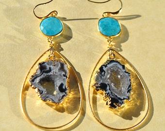 SALE Turquoise Earrings - Geode Earrings - Turquoise Jewelry - December Birthstone Earrings - Geode Jewelry - Long Druzy Earrings - Hoop Ear