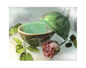 pottery bowls - prep bowls, stacking bowls, mini nesting bowls, green pottery bowls, set of 2 bowls, # 83