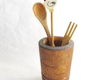 Vintage Wooden Spoons - Wooden Utensil Holder - Chicken - Kitchen Storage - Cooking Utensils - Wooden Fork - Home Decor