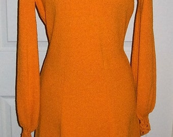 Vintage 1960s Orange Stretch Knit Dress w/ Crochet Lace Sleeves by Picardo Knits Medium Mod Only 45 USD