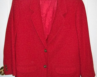 Vintage Ladies Red Wool Blazer by Eddie Bauer Large Only 7 USD