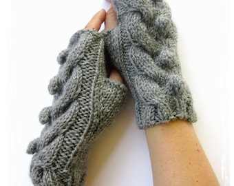 PDF knitting Pattern cabled arm warmers with bobbles fingerless gloves mittens