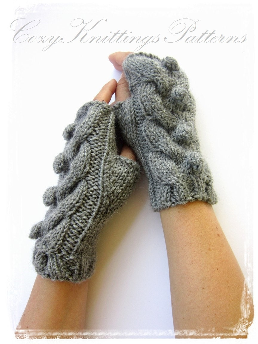PDF knitting Pattern cabled arm warmers with bobbles fingerless ...