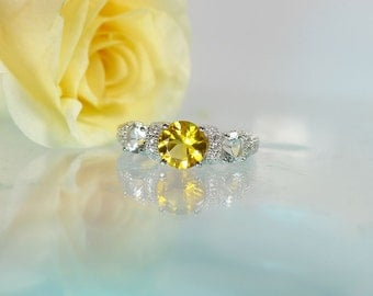 Zircon, Zircon Ring, Natural Zircon, Yellow Zircon Ring, Three Stone Ring, Micro Pave Ring, Yellow Gemstone Ring, Unique Gemstone Ring,