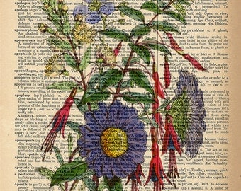 Dictionary Art Print - Purple and Red Floral Flower Bouquet - Upcycled Vintage Dictionary Page Poster Print - Size 8x10