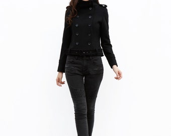 New Collection Black Short Wool Jacket / Military Winter Coat / Double breasted Wool Coat / Winter Jacket - NC641