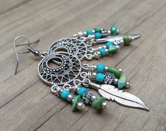 Indian summer earrings jewelry earring dangle drop silver feather dream catcher greenery collection #EBE004