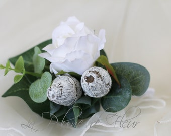 Dalby -  White rose and grey gumnut Men's Buttonhole / Boutonniere with Australian native foliage.