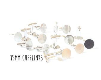 100 pieces - 15mm - Cufflink Blanks - Cuff Links - 50 pair - Glue Pad - Silver Tone - Flat Pad