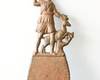 SALE Antique Receipt Holder, Bill Holder, Boy with Deer Metal Recipt Holder
