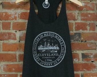 Racerback SUPER SOFT Vintage Feel Tank - Cleveland 'City Seal' on TriBlend Charcoal Black