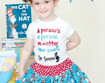 A Person's a Person No Matter How Small Shirt, Custom Dr Seuss Quote Tee Tshirt Tee Girls and Baby Girls 12m to 7
